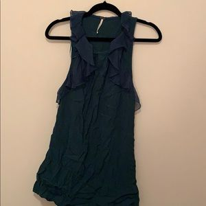 FREE PEOPLE teal chiffon ruffled mini dress size 0